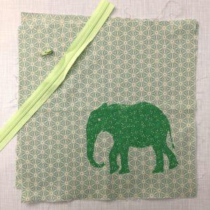 Nähset grüner Elefant Kissen