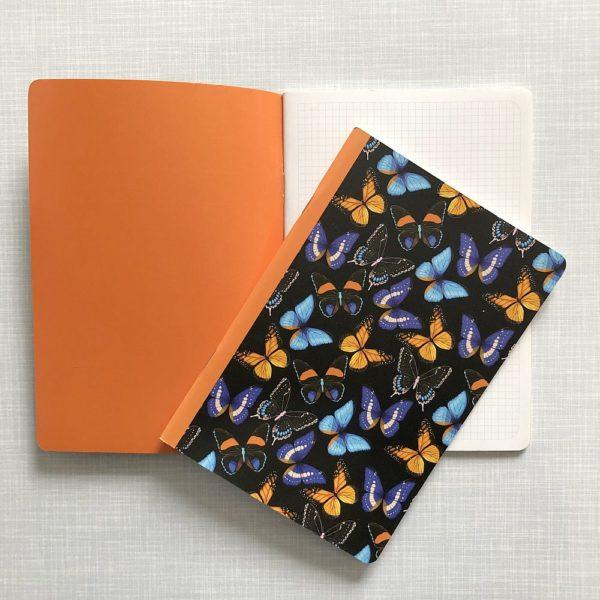 kariertes Heft mit Schmetterlingen
